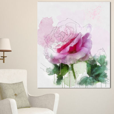 Designart Pink Rose Sketch With Green Leaves Floral Canvas Art Print