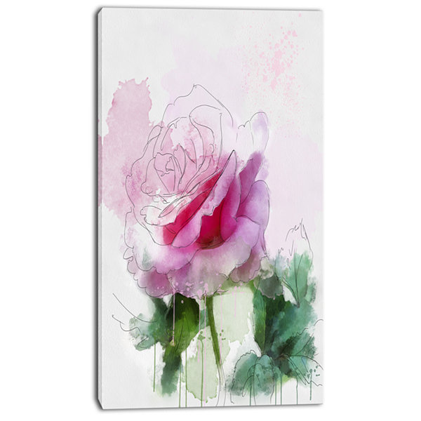 Design Art Pink Rose Sketch With Green Leaves Floral Canvas Art Print
