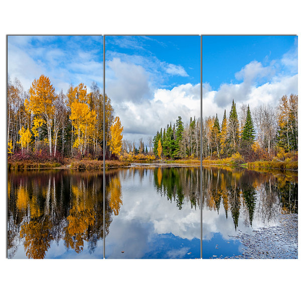 Designart Nice Autumn Trees With Forest Lake Landscape Canvas Art Print - 3 Panels