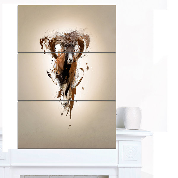 Design Art Mouflon Abstract Walking Animal CanvasWall Art - 3 Panels