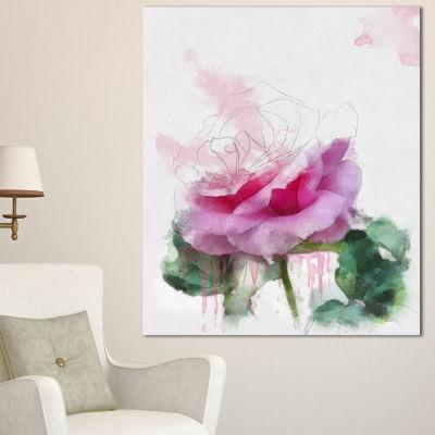 Designart Pink Rose Stem With Paint Splashes LargeFloral Canvas Artwork