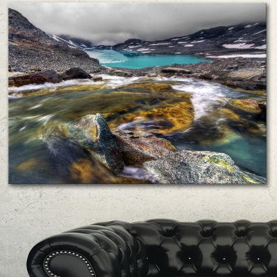 Designart Mountain Creek Flowing Into Lake LargeLandscape Canvas Art Print - 3 Panels