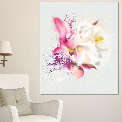 Designart Pink Rose Watercolor Illustration FloralCanvas Art Print