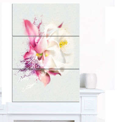 Designart Pink Rose Watercolor Illustration FloralCanvas Art Print - 3 Panels