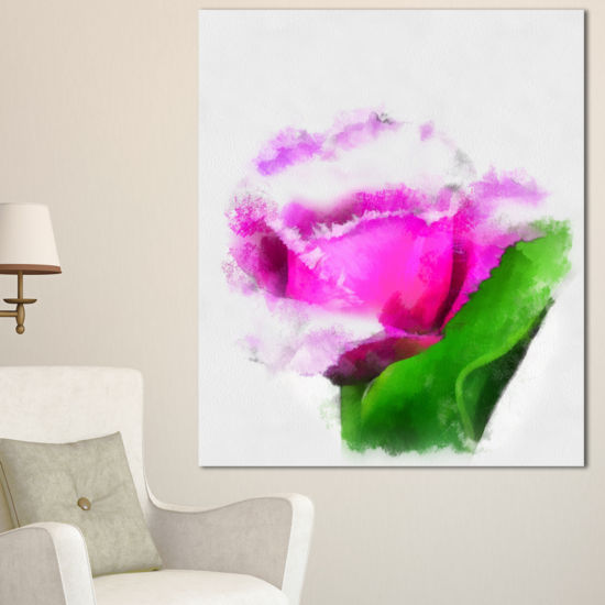 Designart Pink Rose Watercolor With Leaves LargeFloral Canvas Artwork