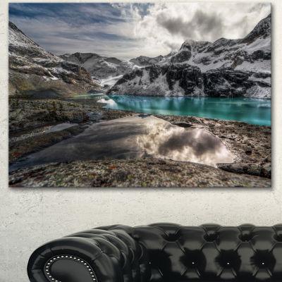 Designart Mountain Creek Under Cloudy Sky Large Landscape Canvas Art Print - 3 Panels