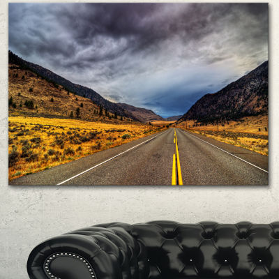 Designart Mountain Desert Highway British ColumbiaExtra Large Landscape Canvas Art Print
