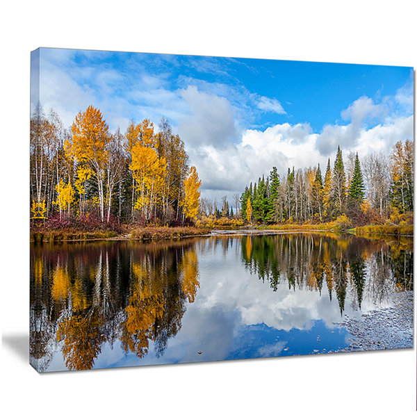 Designart Nice Autumn Trees With Forest Lake Landscape Canvas Art Print