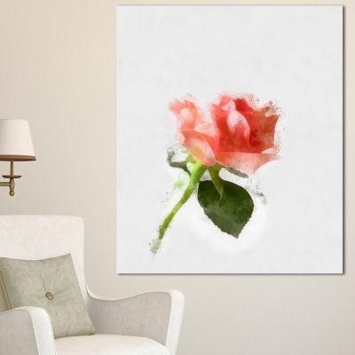 Designart Pink Rose Watercolor With Stem Large Floral Canvas Artwork