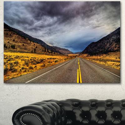 Designart Mountain Desert Highway British ColumbiaExtra Large Landscape Canvas Art Print - 3 Panels