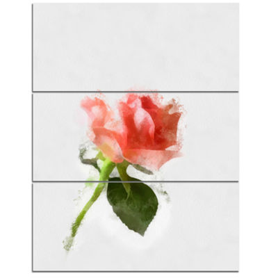 Designart Pink Rose Watercolor With Stem Large Floral Canvas Artwork - 3 Panels