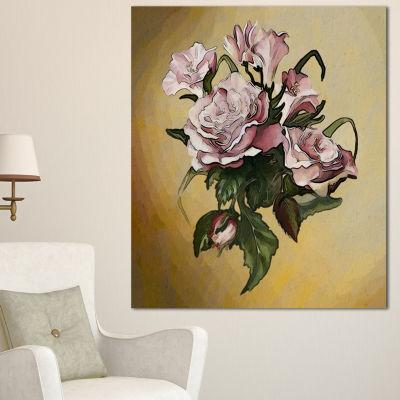 Designart Pink Rose With Leaves Watercolor FloralCanvas Art Print - 3 Panels
