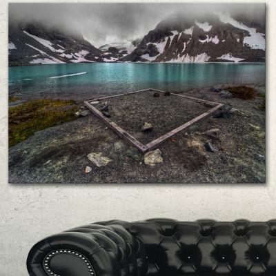 Designart Mountain Lake And Cloudy Sky Landscape Canvas Art Print - 3 Panels