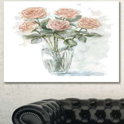 Designart Pink Roses Bunch In The Vase Large Floral Canvas Art Print