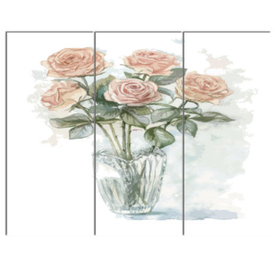 Designart Pink Roses Bunch In The Vase Large Floral Canvas Art Print - 3 Panels