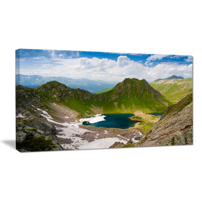 Designart Mountain Lake View On Bright Day LargeLandscape Canvas Art