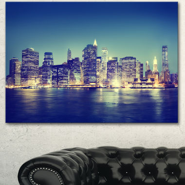 Designart New York City Evening Panorama Extra Large Canvas Art Print