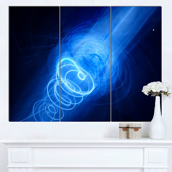 Designart New Plasma Weapon In Space Large Abstract Canvas Wall Art - 3 Panels