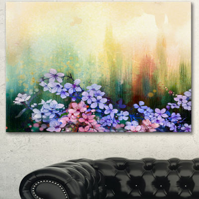 Designart Pink Sakura Flowers In Soft Color FloralCanvas Art Print - 3 Panels