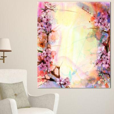 Designart Pink Sakura On Blurred Background FloralCanvas Art Print