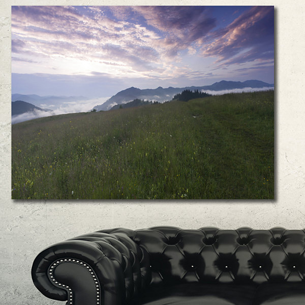 Designart Mountain Plateau At Evening Landscape Canvas Art Print