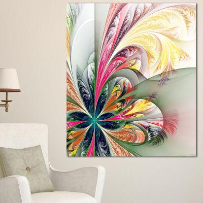 Designart Multicolor Fractal Tracery Floral CanvasArt Print - 3 Panels