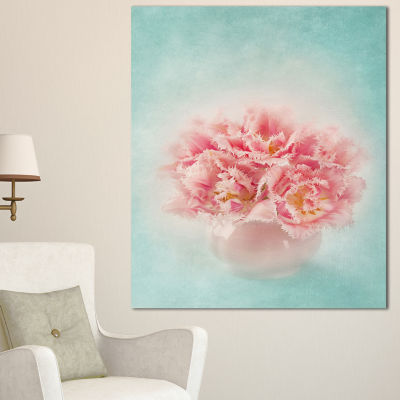 Designart Pink Tulips In Vase Photography Floral Canvas Art Print