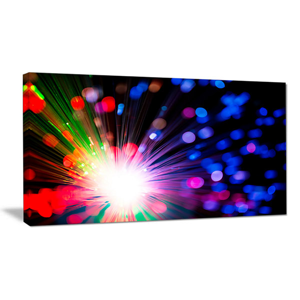 Designart Multicolor Optical Fiber Lighting LargeAbstract Canvas Wall Art