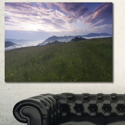 Designart Mountain Plateau At Evening Landscape Canvas Art Print - 3 Panels
