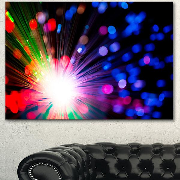 Designart Multicolor Optical Fiber Lighting LargeAbstract Canvas ...
