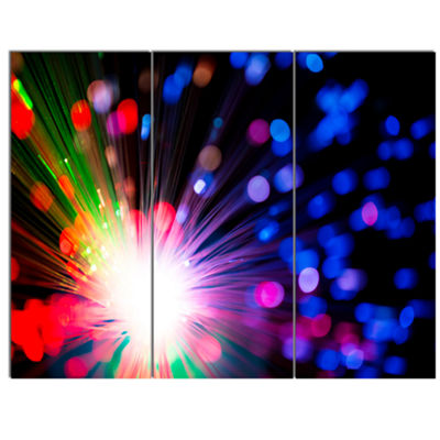 Designart Multicolor Optical Fiber Lighting LargeAbstract Canvas Wall Art - 3 Panels