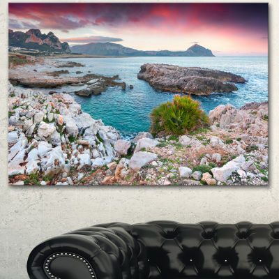 Designart Nature Reserve Monte Cofano Landscape Canvas Art Print