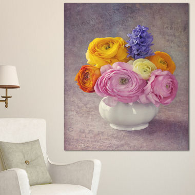 Designart Multicolor Ranunculus Flowers In Vase Floral Canvas Art Print