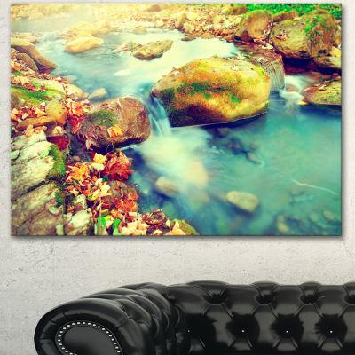 Designart Mountain River With Stones Large Seashore Canvas Wall Art