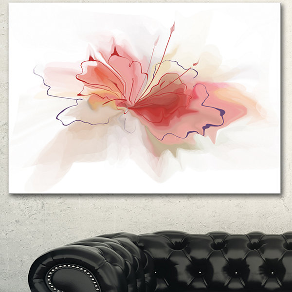 Designart Pink Watercolor Flower Sketch Extra Large Floral Wall Art - 3 Panels