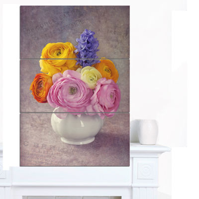 Designart Multicolor Ranunculus Flowers In Vase Floral Canvas Art Print - 3 Panels