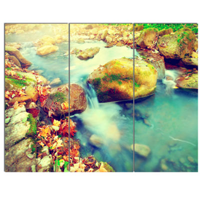 Designart Mountain River With Stones Large Seashore Canvas Wall Art - 3 Panels