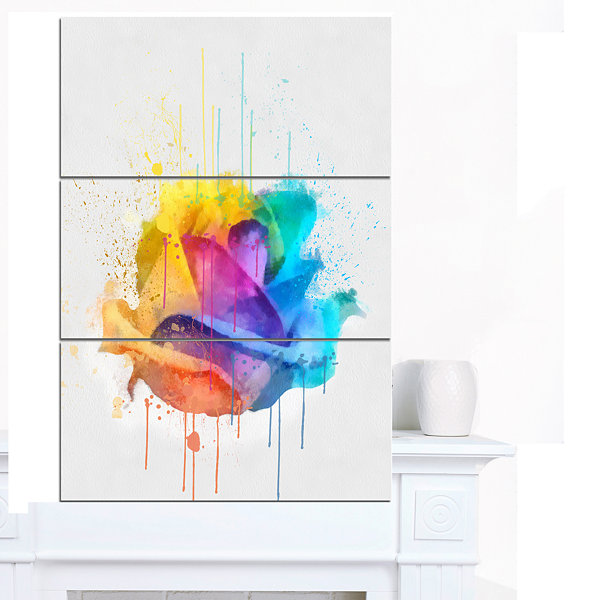 Design Art Multicolor Rose With Color Splashes Floral Canvas Art Print - 3 Panels
