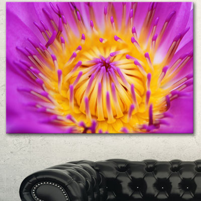 Designart Pink Yellow Abstract Lotus Flower Flowers Canvas Wall Artwork - 3 Panels