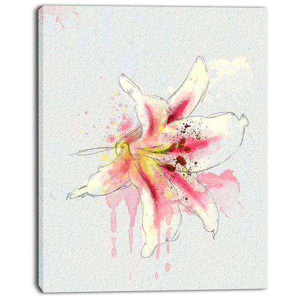 Designart Pink Yellow Lily Watercolor Sketch Flowers Canvas Wall Artwork