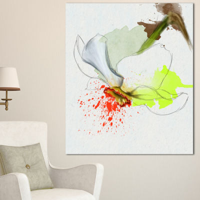 Designart Narcissus Flower Sketch Watercolor Floral Canvas Art Print