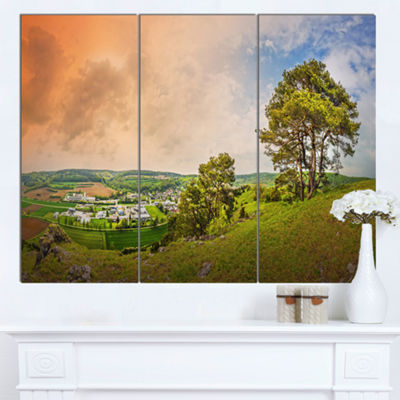 Designart Mountains In Germany Panorama Large Landscape Canvas Art Print - 3 Panels