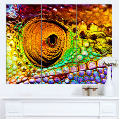 Designart Multicolor Scaly Skin Of Lizard AbstractCanvas Art Print - 3 Panels