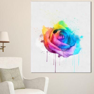 Design Art Multicolor Watercolor Rose Flower Floral Canvas Art Print