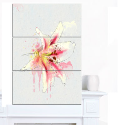 Designart Pink Yellow Lily Watercolor Sketch Flowers Canvas Wall Artwork - 3 Panels