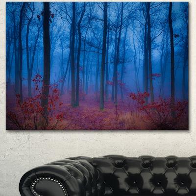 Designart Mysterious Blue Thick Woods Modern Forest Canvas Art