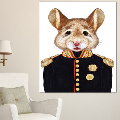 Designart Mouse In Military Uniform Animal CanvasArt Print - 3 Panels
