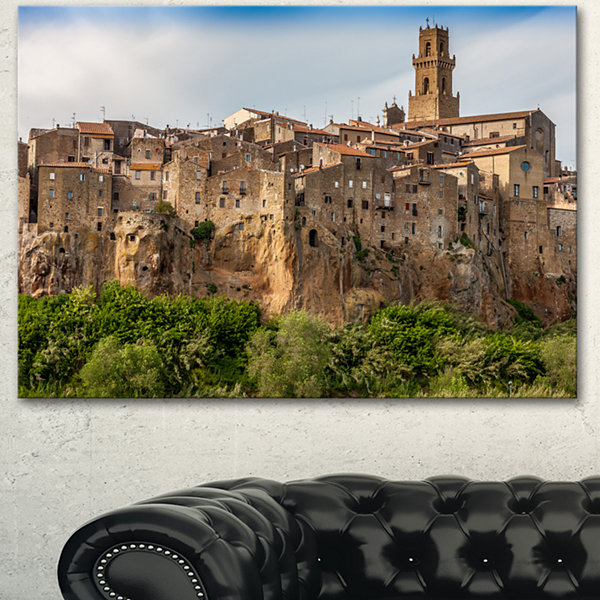 Design Art Pitigliano City On The Cliff In Italy Large Landscape Canvas Art - 3 Panels