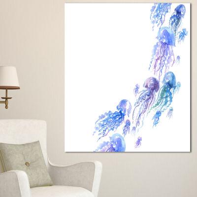 Designart Moving Jellyfish Group Abstract CanvasArt Print - 3 Panels