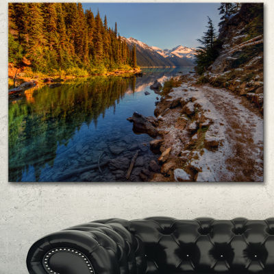 Design Art Placid Lake Between Mountains LandscapeCanvas Art Print